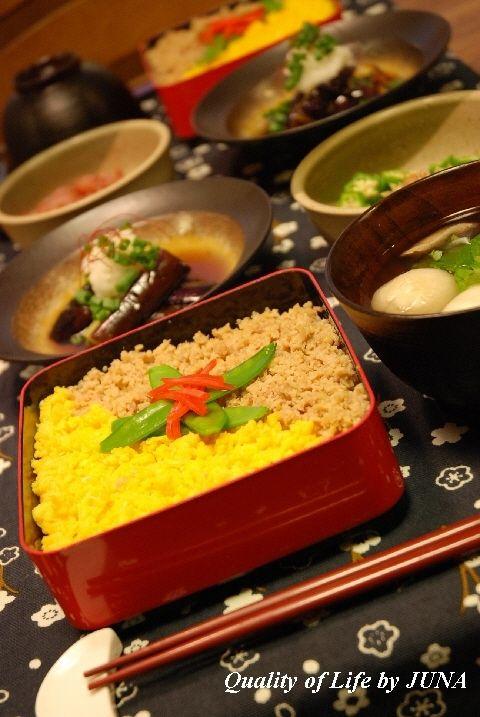 家庭料理の定番☆鶏そぼろ丼となすの煮浸し♪・・と器の使い方