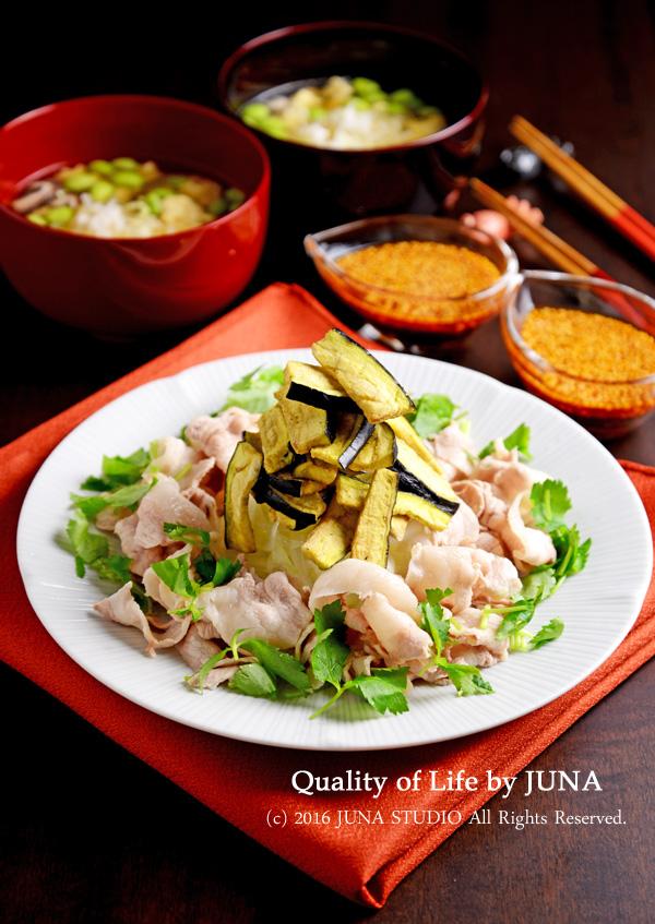 【フリーズドライレシピ】サクサクなすと楽しむ豚しゃぶ&枝豆入り卵スープ