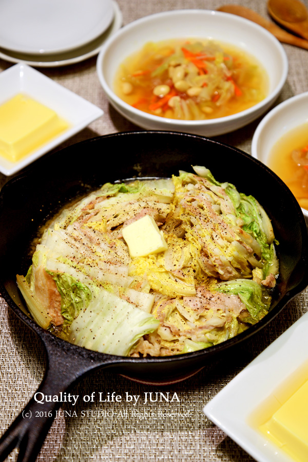 味噌バター風味の白菜と豚肉の蒸しもの~スキレット使用~