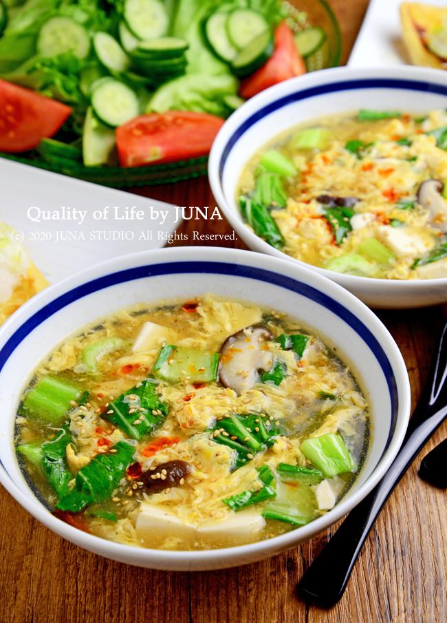 【簡単レシピ】チンゲン菜と卵と豆腐のふわトロスープ