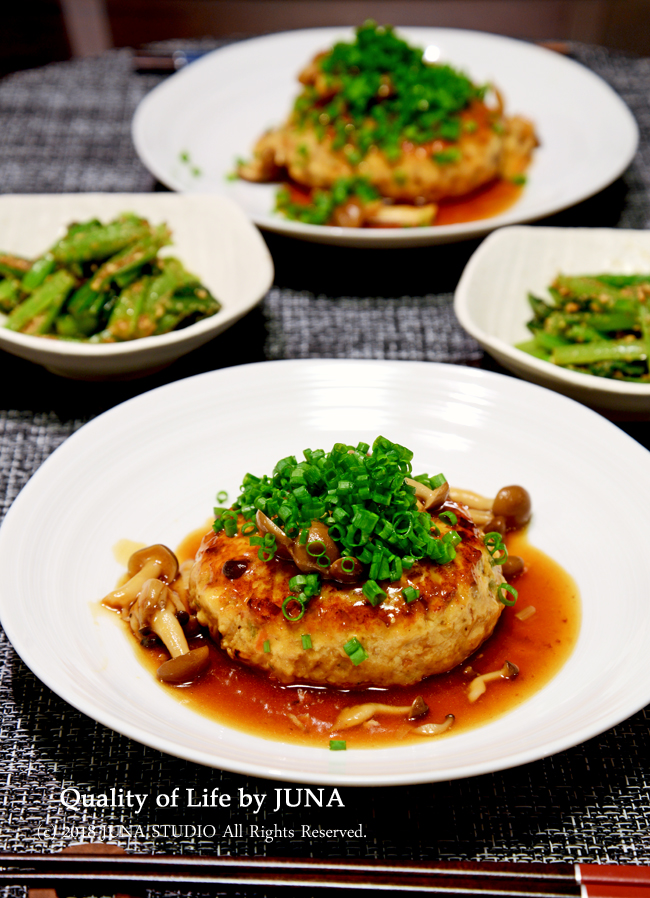 豆腐ハンバーグきのこソースとお弁当