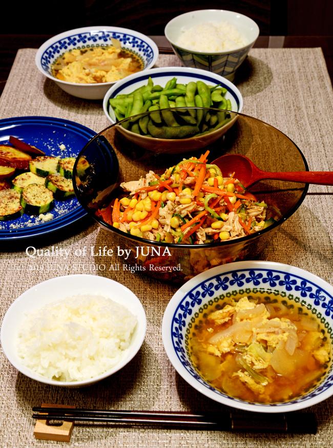 ささみとお野菜の和え物など(まだ焼肉の日の素材を引きずっていますw)