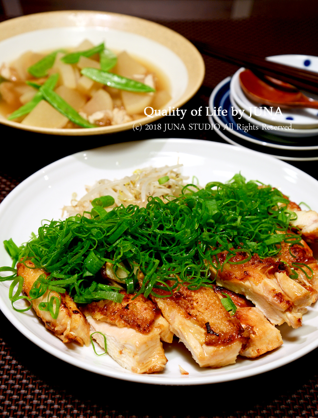【レシピ】中華風チキンたっぷり九条ねぎのせ & 【今日のおべんと】