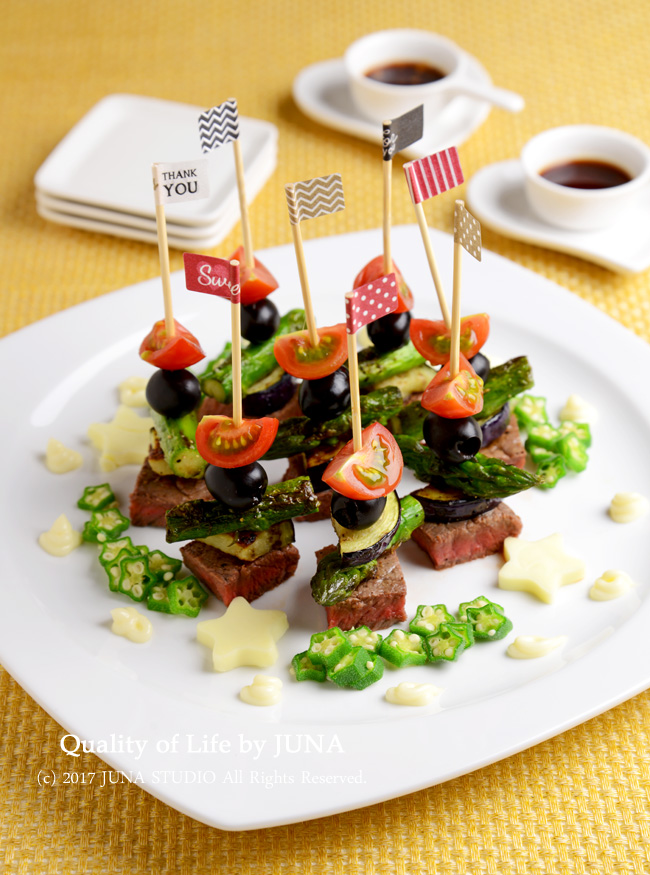 【七夕にも】牛肉と野菜とオリーブのピンチョス 他、七夕おすすめメニュー