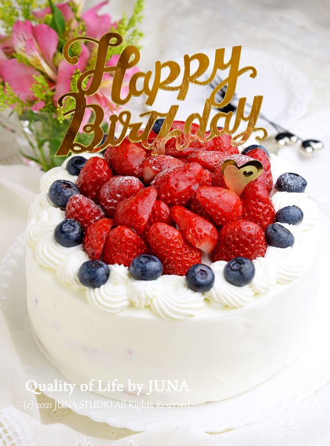 JUNA夫さんの誕生日ケーキ<動画あり♪>