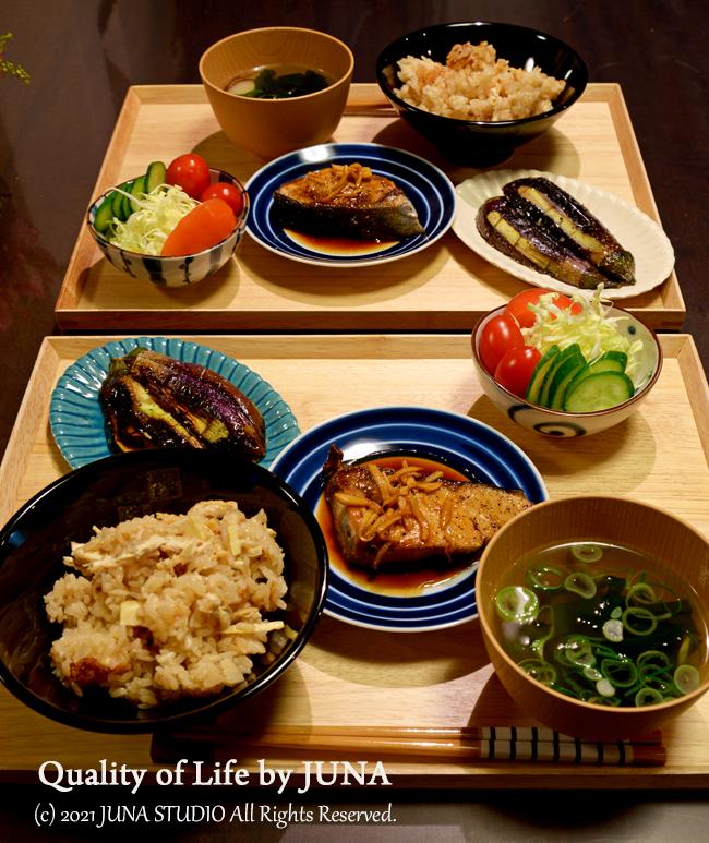 ぶりのしょうが焼き定食(たけのこごはん付き♪)/袴の着付けの練習中