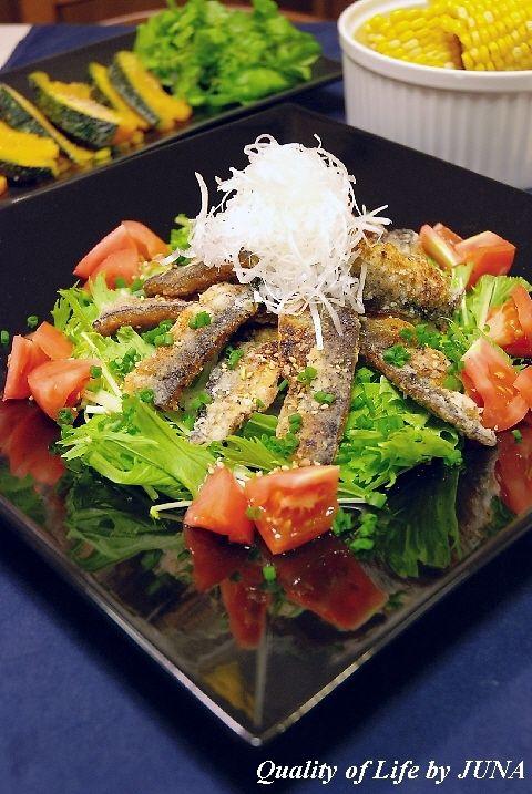 秋刀魚の竜田揚げサラダ仕立てとかぼちゃの塩バターソテー