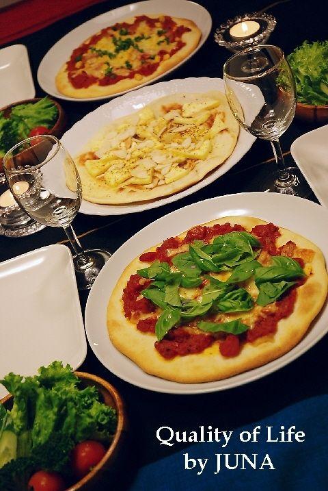 簡単ピザ生地で、3種のピザ焼きました♪