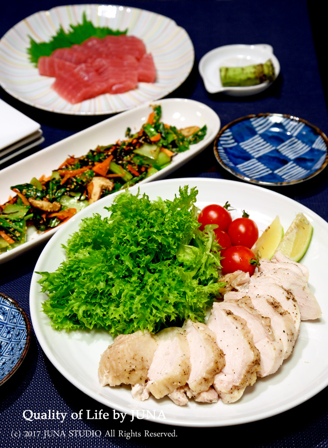 週末ごはん 炊飯ジャーで蒸し鶏&さしみ&チンゲン菜の塩昆布炒め