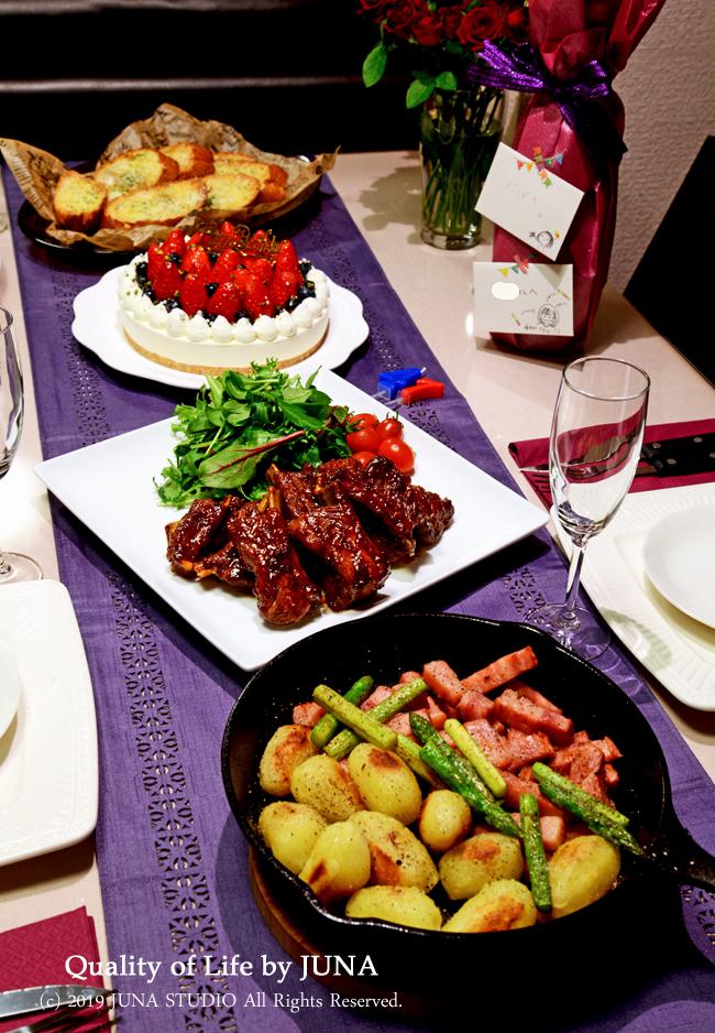 JUNA夫さんの誕生日ディナーのテーブル