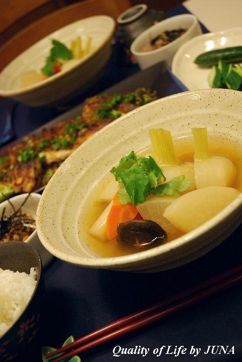 和風ポトフと秋刀魚の香味焼き と きゅうりレポート??