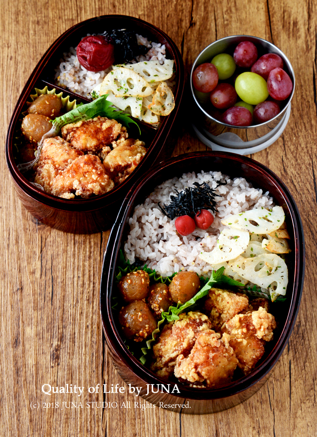 【今日のおべんと】鶏むね肉の塩から揚げ弁当