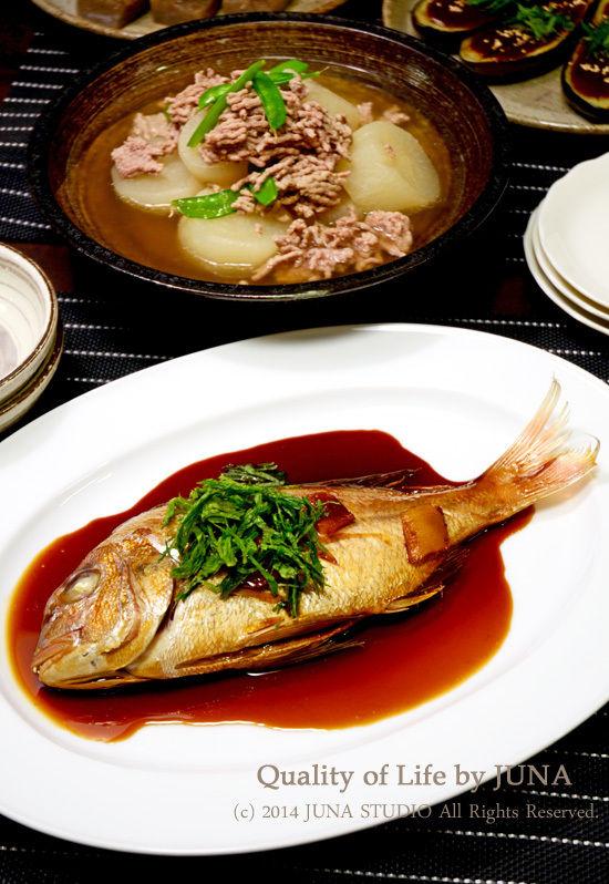 鯛の煮つけとか大根のそぼろ煮とか。
