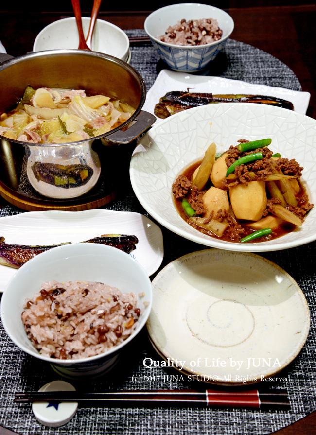 白菜と豚肉のこくまろ鍋、里芋とごぼうの煮ものなど