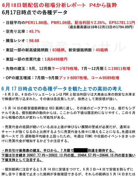6月18日朝配信の相場分析レポート1a