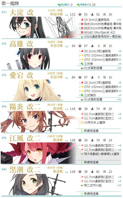 7-1編成見本第2艦隊