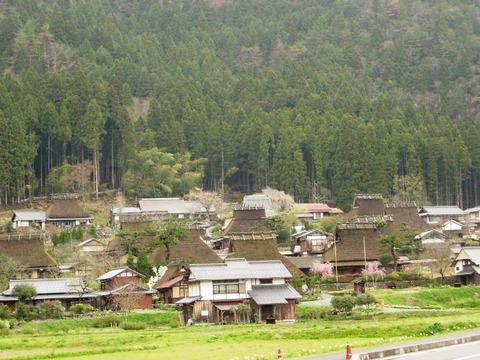 美山町かやぶきの里 遠くからの風景 写真