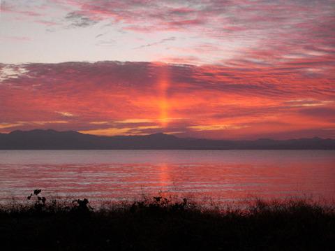 琵琶湖 夕日 写真