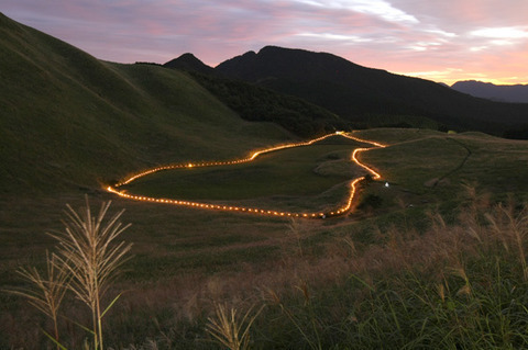 曽爾高原 山灯り 写真