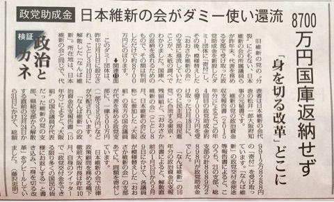日本維新の会がダミー団体を使い政党助成金8700万円を還流!