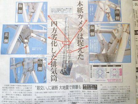 福島第一排気筒の倒壊リスク