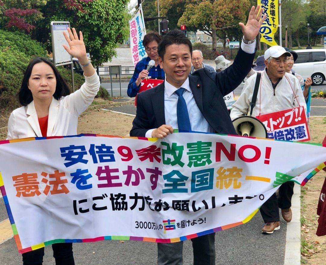 国民が希望持てる社会へ!あすみが丘と鎌取駅での総がかり行動に参加して訴えました!