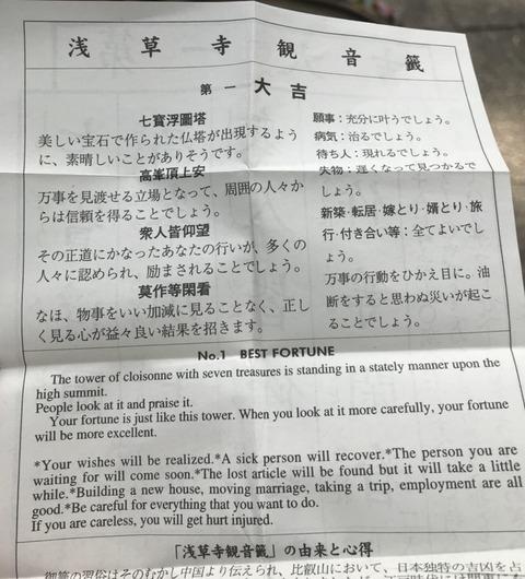 浅草寺のおみくじ結果