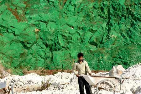 中国 山を緑色のペンキで塗った2