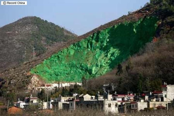 中国 山を緑色のペンキで塗った1
