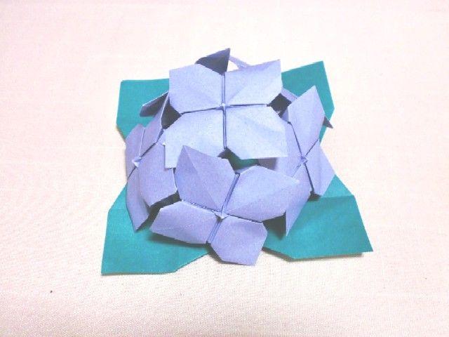 バラ 折り紙:折り紙 あじさい 折り方-blog.livedoor.jp