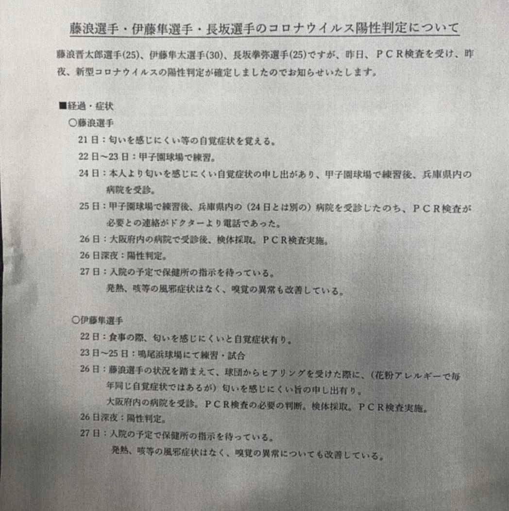 【悲報】阪神 伊藤隼選手、長坂選手 コロナウイルス陽性