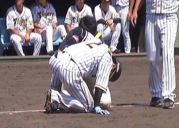 【悲報】北條史也 ファームの試合で自打球が足に当たり負傷交代