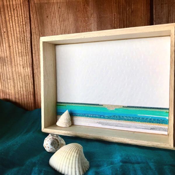 水引で和紙に海を描く