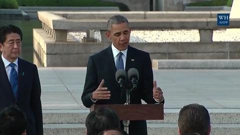 広島でスピーチするオバマ大統領