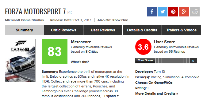 Forza Motorsport 7 for PC Reviews - Metacritic