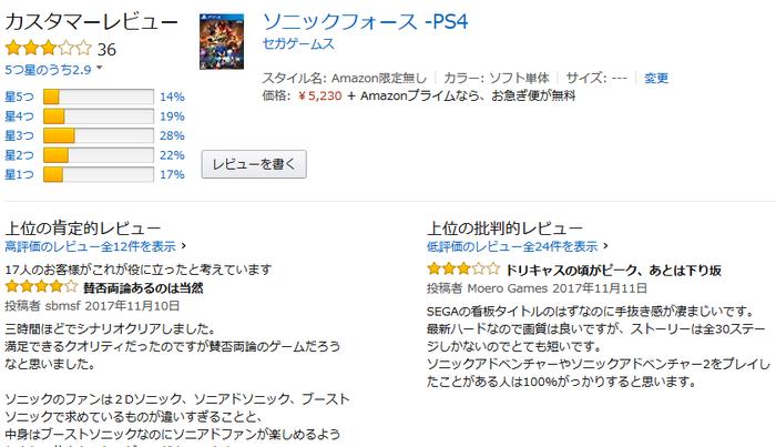 jp:カスタマーレビュー- ソニックフォース -PS4