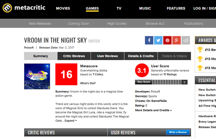 Vroom in the Night Sky for Switch Reviews - Metacritic