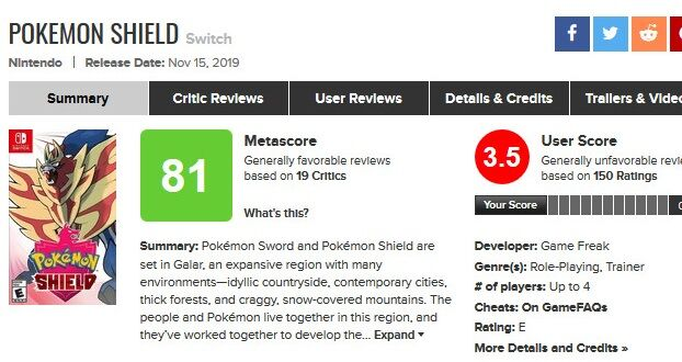 Pokemon Shield for Switch Reviews - Metacritic -