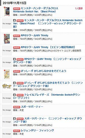 【Switch(スイッチ)】ゲームソフト発売予定