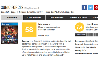 Sonic Forces for PlayStation 4 Reviews - Metacritic