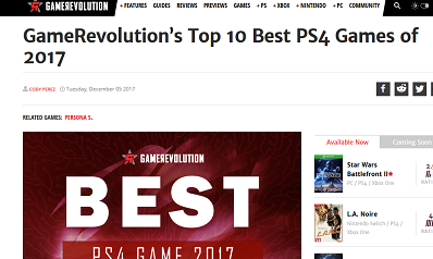 GameRevolution's Top 10 PS4 Games of