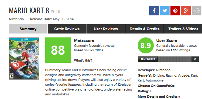 Mario Kart 8 for Wii U Reviews - Metacritic