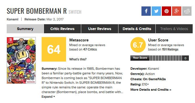 Super Bomberman R for Switch Reviews - Metacritic