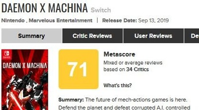 Daemon X Machina for Switch Reviews