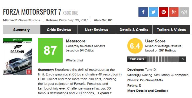 Forza Motorsport 7 for Xbox One Reviews - Metacritic