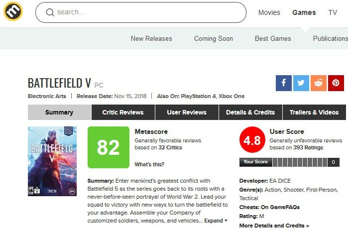 Battlefield V for PC Reviews - Metacritic - 181118-183507