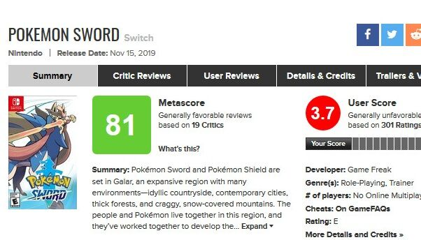 Pokemon Sword for Switch Reviews