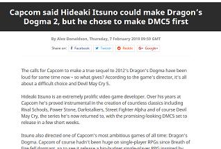 Capcom said Hideaki It
