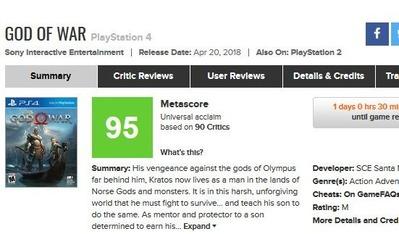 【神ゲー】PS4『ゴッド・オブ・ウォー』はメタスコアで最も高得点を叩き出したPS4専用タイトルに!!