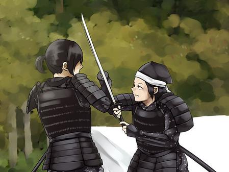 59_合戦イベントで殺陣シーンを演じる甲冑女子
